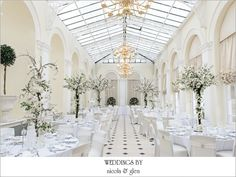Blenheim Palace Orangery set up for a wedding reception