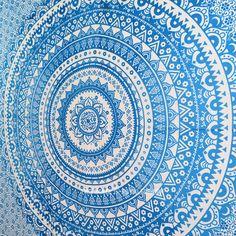 Blue Multi Floral Ombre Circle Mandala Wall Tapestry Bedding on RoyalFurnish.com, $19.73