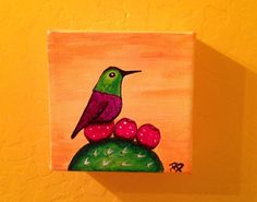 This 4 x 4 inch canvas is an original painting. I live in Arizona and see these beautiful little birds buzzing around all year long. I love the