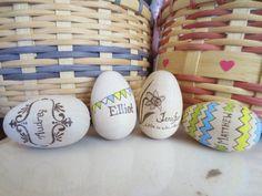 Wooden Easter Eggs for Spring or Easter Baskets - Hand Wood Burnt