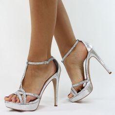 6a520aa72f9540 Jumex High Heels Pumps Glitzer Strass silber B8529 Sandalen Mit Absatz  Silber