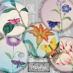 Collage imprimable numérique feuille asiatique fleurs et