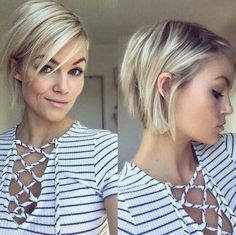Short hairstyles for fine hair are one of the hairstyles that women often think of, but they don't dare to try them. There are many short and pleasant hairstyles for fine hair. Fine hair is o… Edgy Bob Haircuts, Short Blonde Haircuts, Girl Haircuts, Short Hairstyles For Women, Short Hair Long Bangs, Short Trendy Hair, Haircut Thin Fine Hair, Short Bob Thin Hair, Oval Face Hairstyles Short