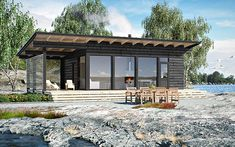 Modern Bungalow House, Modern Cottage, Cottage Design, House Design, Small Lake Houses, Prefab Cabins, Container House Plans, Lakefront Homes, Pole Barn Homes