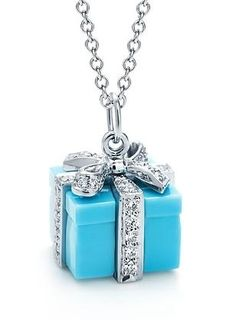 Tiffany present box with silver bow pendant - NECKLACE - blue - jewelry - diamonds - fashion accessories