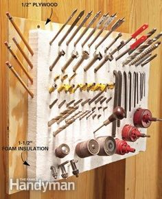 Clever Tool Storage: Use a chunk of foam insulation as a pointy tool pin cushion...It'll hold drill bits, router bits, screwdriver bits etc, and keep them close at hand.