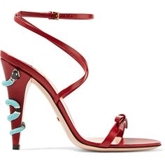 Gucci Embellished leather sandals (€740) ❤ liked on Polyvore featuring shoes, sandals, heels, claret, embellished sandals, red leather sandals, red sandals, leather sandals and leather strap sandals