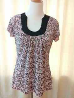 Brittany Black Women's Top Pink and Black Crinkle Tunic Size Small #BrittanyBlack #Tunic
