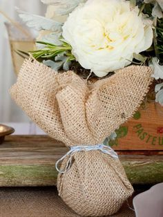 Rustic canvas party favor