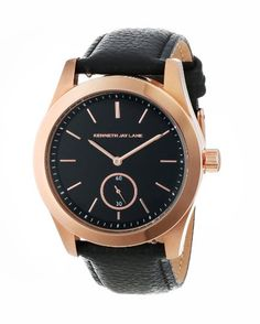 Kenneth Jay Lane Women's 2308S-01 2300 Series Black Dial Black Leather Watch: Watches: Amazon.com