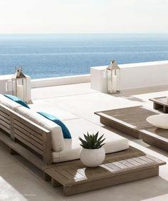 moderne Terrasse Einrichtungsideen südländisches Flair Gelassenheit schöner Panoramablick