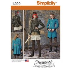 Simplicity Pattern 1299 Misses Costume Coat, Jacket, Bustle and Ruffled Skirts. misses' costume features a long jacket with cuffed sleeves, pockets & buttons and a short jacket with buckle closure, pockets & ruffle trim sleeves. pattern also includes ruffled skirt in two lengths & detachable bustle.  Sizes 14 thru 22.
