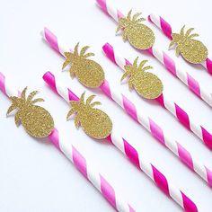 glitter pineapple fushia Stripe Paper Straws- wedding, engagement, birthday, baby shower, tea party straw24pcst