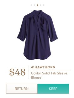 Navy rolled sleeve blouse. Perfect for work or pair with jeans! Stitch fix fall 2016.