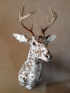 Upholstered Faux Taxidermy Deer from the Etsy shop StrangeProportions Animal Head Decor, Deer Head Decor, Animal Heads, Textile Sculpture, Art Textile, Soft Sculpture, Faux Deer Head, Stag Head, Paper Mache Animals