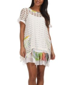Loving this Pomme Rouge White Ruffle Mesh Tunic - Women & Plus on #zulily! #zulilyfinds