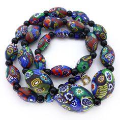 Vintage Art Deco Venetian Matte Moretti Millefiori Rooster Cane Glass Bead Necklace   Clarice Jewellery   Vintage Costume Jewellery