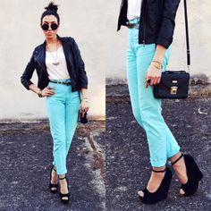 mint pants black jacket love everything