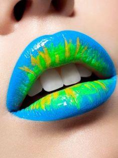 lipstick - blue, green, yellow