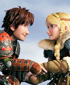howtotrainyourdragenz: This has probably got to be my favorite Hiccstrid gif ever. I mean, just look at how they're looking at each other. How they never take their eyes off each other the whole time. How Hiccup holds on to Astrid's hand for a little bit before letting go. You can literally see how in love they are, and they don't even have to say anything. That's what's so great about Hiccstrid in HTTYD 2 - it's not