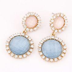 Korean Plain Color Fashion Czech Rhinestone Rimmed Round Flowers Earrings - Blue