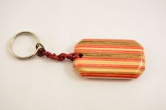 Keychain made from Recycled Skateboards - Red and Natural Wood color - Skateboard Art by recycledskateboard on Etsy