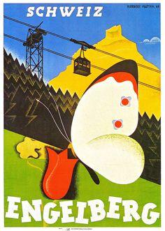Vintage travel poster for Engelberg by Herbert Matter