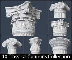 10 Classical Columns Collection architectural architecture, formats include OBJ, ready for animation and other projects Square Columns, Stone Columns, Tuscan Column, Corinthian Order, Architectural Columns, Architectural Models, Temple Architecture, Architecture Design, Architecture