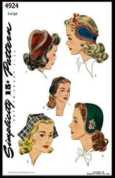 Simplicity Female Sewing Patterns Vintage for sale Hat Patterns To Sew, Vintage Sewing Patterns, Clothing Patterns, 1940s Fashion, Vintage Fashion, Vintage Style, Patron Vintage, Millinery Hats, Pin Up Style