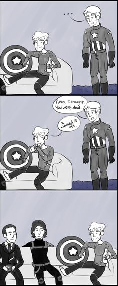 I walked it off Steve Rogers, Pietro Maximoff, Bucky Barnes, Phil Coulson by superwholockpotterhead