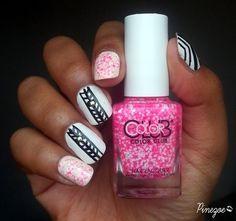 liner & Neon glitter #nailart  via #pinezoe #pink #polish #nailblogger - bellashoot.com