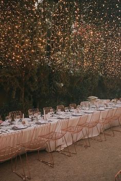 backyard wedding reception ideas with fairy lights Wedding Themes, Wedding Designs, Wedding Decorations, Wedding Ideas, Aisle Decorations, Light Decorations, Diy Wedding, Wedding Favors, Wedding Invitations