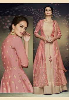 Buy Pink Net Readymade Jacket Style Anarkali Suit 153989 online at lowest price from huge collection of salwar kameez at Indianclothstore.com. Indian Fashion Dresses, Fashion Wear, Fashion Pants, Fasion, Eid Dresses, Party Wear Dresses, Event Dresses, Long Anarkali, Anarkali Suits