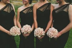 Fuse Weddings and Events, Blue Lakes Country Club, Kendra Elise Photography, Utah Weddings, Idaho Weddings, Idaho Wedding Planner, Utah Wedding Planner, Blush flowers, Bridesmaid dress, Black bridesmaid dresses, One shoulder bridesmaid dress More