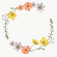 Flower Reef, Flower Circle, Flower Frame, Flower Vases, Wreath Watercolor, Watercolor Cards, White Flower Wallpaper, Framed Tattoo, Diy Embroidery Patterns