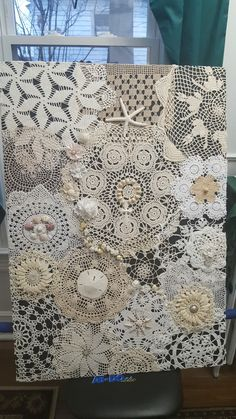 Just finished this project. Family doillies, shells from my daughter and my beach trip, buttons and gems from older family and friends. Doily Art, Lace Art, Doilies Crafts, Lace Doilies, Home Crafts, Easy Crafts, Lace Decor, Quilting For Beginners, Linens And Lace