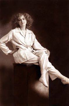 "Gabrielle Ray, c. 1905  The photo may be of Ray in pink pyjamas for The Orchid, in which show she sang ""The Pink Pyjama Girl"""