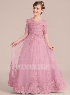 Scoop Neck Floor-Length Sequins Zipper Up Sleeves 1/2 Sleeves Other Colors Tulle Lace Junior Bridesmaid Dress
