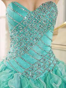 Spring Turquoise Beaded Ruffles For Sweet 16 Dress - $242.15