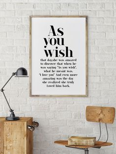 As You Wish || typography art, the princess bride quote, the princess bride print, black and white art, romantic quote, westley, buttercup