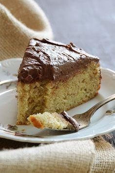Yellow Banana Cake with Whipped Dark Chocolate Ganache #dessert #recipes