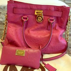 FAB MK ostrich bag.  For the true Michael Kors collectors out there!! This is my pink ostrich embossed-100% authentic Michael Kors bag. I love her, but she does not get much use. She is in great condition and comes with the dustcover. I also have the matching wallet. Will only sell for the right price otherwise I'm keeping. You can no longer purchase this bag. The leather is absolutely fabulous! Gorgeous!!! Great used condition, ask all questions. PRICE FIRM--NO TRADES! Thanks!  Michael Kors…