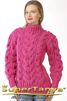 Custom made hand knitted wool sweater in pink soft by supertanya