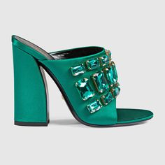 Gucci Emeral Green Satin Sandal with Crystals