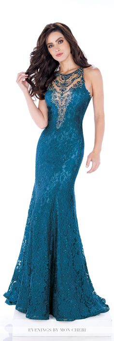 Formal Evening Gowns by Mon Cheri - Fall 2016 - Style No. MCE21632 - teal sleeveless lace evening dress with beaded illusion high scoop neck and bodice