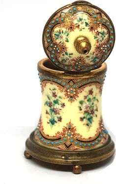Antique Napoleon III French Hand-Painted Enamel Encrier/Inkwell