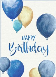 Happy Birthday Greeting O. blue and gold balloons - Happy Birthday Greeting O. blue and gold balloons - Happy Birthday Man, Happy Birthday Pictures, Birthday Love, Happy Birthday Balloons, Happy Birthday Little Brother, Birthday Images For Men, Birthday Ideas, Vintage Birthday, Happy Birthday Wishes Cards