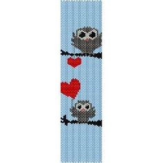 OWLS IN LOVE - PEYOTE beading pattern for cuff bracelet FINAL SALE! 50% OFF!