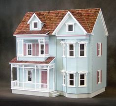 The Front-Opening Country Victorian Dollhouse Kit by Real Good Toys. Victorian Crafts, Victorian Dolls, Victorian Dollhouse, Victorian Era, Vitrine Miniature, Miniature Houses, Miniature Dolls, Dollhouse Kits, Dollhouse Miniatures