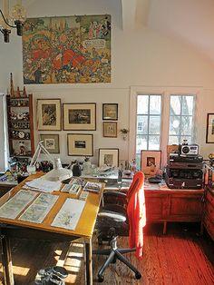 Maurice Sendak, working in his art studio. - Google Search
